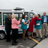 Globe/Roger Nomer<br /> Paula Baker, Freeman Health System president and CEO, thanks Susan Carlsten, Freeman Auxiliary president, for the keys to the new hospital shuttle, nicknamed the Freddie Flyer. The Auxiliary's new visitor shuttle can hold up to nine passengers and is electric.