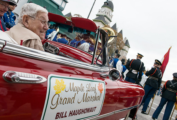 Globe/Roger Nomer<br /> Maple Leaf Grand Marshal Bill Haughowaut starts on the parade route for the annual Maple Leaf Parade on Saturday in Carthage.