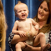 Globe/Roger Nomer<br /> Kael Jones, 11 months, expresses his impatience while waiting for the judges as he is held by his mother Amy, Carthage, during Saturday's Maple Leaf Baby Pageant.