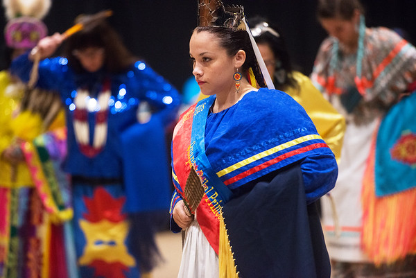 Globe/Roger Nomer<br /> Lakyn Buffalo, Quapaw Tribal Princess for this year, demonstrates a dance on Monday at Downstream Casino.