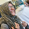 Globe/Roger Nomer<br /> Laura Crossno, a Missouri Southern fourth-year senior from Neosho, tries on a hijab during the Muslim Student Union's Hijab Day on Thursday at MSSU.