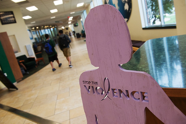 Globe/Roger Nomer<br /> Lafayette House has set up a display at the Missouri Southern Lion's Den for Domestic Violence Awareness Month.