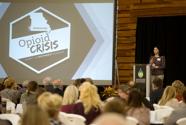 Globe/Roger Nomer<br /> Nichole Dawsey, director of prevention education at the National Council on Alcoholism and Drug Abuse, talks during Tuesday's Opioid Crisis Summit in Southwest Missouri at Missouri Southern.