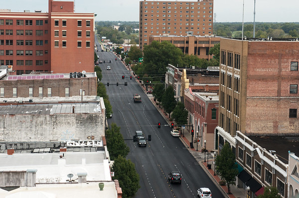 Globe/Roger Nomer<br /> Downtown traffic in Joplin is seen from on top of Joplin City Hall on Thursday morning.