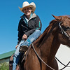 Globe/Roger Nomer<br /> Annie Chance watches international riders train at her ranch in Joplin on Wednesday afternoon.