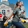 Globe/Roger Nomer<br /> Natalie Woodbury, a sixth grade science teacher at Mt. Vernon Middle School, plays bean bag toss during Monday's school district barbecue.