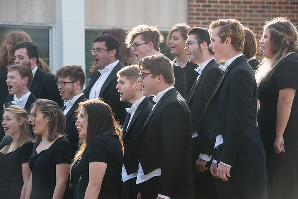 Globe/Roger Nomer<br /> The Missouri Southern Chamber Singers perform during Friday's rededication ceremony.