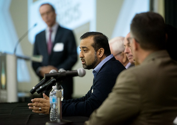 Globe/Roger Nomer<br /> Nauman Ashraf, addiction psychiatrist at Ozark Center, talks during Tuesday's Opioid Crisis Summit in Southwest Missouri at Missouri Southern.