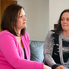 Globe/Roger Nomer<br /> Bethany Schroer, left, talks about her breast cancer diagnosis during an interview with her sister Amy.