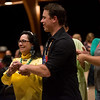 Globe/Roger Nomer<br /> Allyn Kaufmann dances with his mother Carolyn Nott during a dance demonstration by the Quapaw tribe for Procter and Gamble visitors on Monday at Downstream Casino.