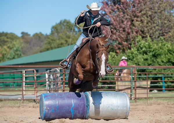 Globe/Roger Nomer<br /> Annie Chance makes a jump on her horse Hot Rod Whiz at her training ranch in Joplin on Wednesday.