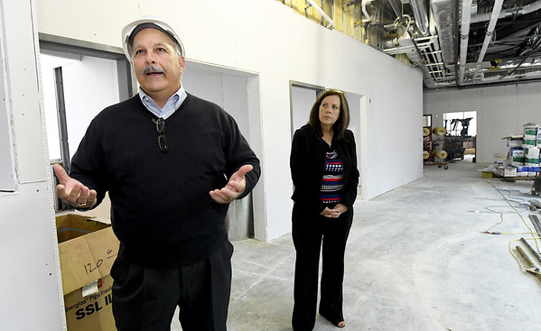 Architect Dan Rowe talks about the educational area of the new Jasper County Juvenile Justice Center as Jasper County Prosecuting Attorney TheresaKenney looks on during a tour with court and county officilas and members of the media on Wednesday at the center near Sixth and Pearl streets.<br /> Globe | Laurie Sisk