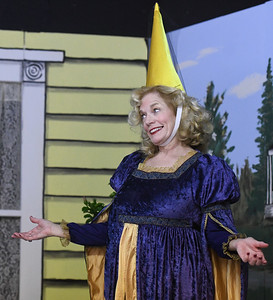 """Jinx Jenkins (played by Susie Lundy) returns from a Renaissance Festival in full regalia during rehearsal for the upcoming Stone's Throw Dinner Theatre production of """"The Savannah Sipping Society,"""" which opens Friday at the Stone's Throw Dinner Theatre. Globe 