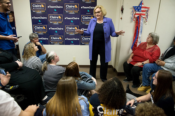 Sen. Claire McCaskill talks with supporters during a campaign stop in Joplin on Wednesday.<br /> Globe   Roger Nomer