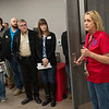 Jacque Long, facility planner, gives a tour of the VA outpatient clinic on Friday during the annual economic development tour.<br /> Globe | Roger Nomer