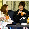 "From thr left: Randa Covington (played by Misty Hammer) and Marla Fae Mosby (played by Shannon Wendt) share laughs and libations at a slumber party scene during rehearsal for the upcoming Stone's Throw Dinner Theatre production of ""The Savannah Sipping Society,"" which opens Friday at the Stone's Throw Dinner Theatre.<br /> Globe 