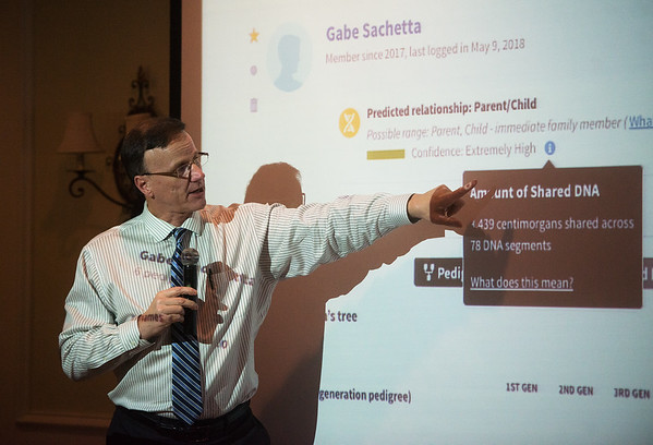 Kerry Sachetta talks about how he found his birth family using DNA tests during a Kiwanis meeting on Tuesday at Twin Hills.<br /> Globe | Roger Nomer