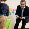 Robert Brais, vice president of ConsultEcon, Inc., takes suggestions from children during the Creative Learning Alliance's community forum on a children's museum on Tuesday at the Joplin Public Library.<br /> Globe | Roger Nomer