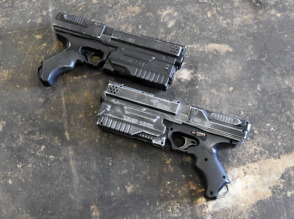 Pariticpants may use foam pellets in these pistols to try and ward off zombies during the Escape: Zombie City experience in downtown Joplin.<br /> Globe | Laurie Sisk