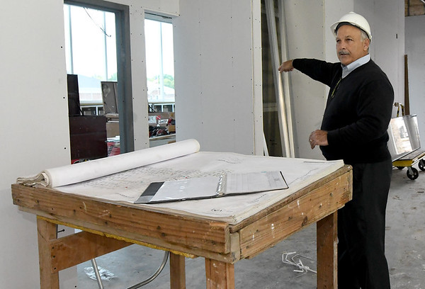 Architect Dan Rowe talks about the educational area of the new Jasper County Juvenile Justice Center during a tour with court and county officilas and members of the media on Wednesday at the center near Sixth and Pearl streets.<br /> Globe | Laurie Sisk