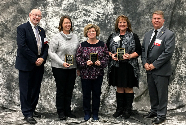 """Six faculty members from the Joplin Area Catholic Schools were recognized as 2019-2020 Teacher of the Year Recipients at the Celebration of Schools held at MSSU on Oct. 29. Pictured are Senator Bill White, Emily Lone, Debi Staton, Margie Black, and State Representative Bob Bromley. Not pictured, but also recognized are Mary Ann Turk, Bette Schoelberl, and Lorrie Hibbs-Estrada. Fr. J. Friedel and Sr. Joan Schwager were recognized for 10+ years of service to the JACS School Board. Mrs. Carol Cignetti-Gaskill was recognized for the """"Friend of Education Appreciation"""" award.<br /> Photo Courtesy Joplin Area Catholic Schools"""