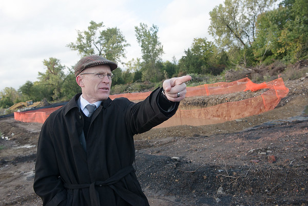 Jay Byers, Pittsburg deputy city manager, talks about redevelopment of former mining land in Pittsburg on Monday.<br /> Globe | Roger Nomer