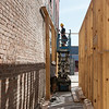 Construction continues on the Decades of Wheels museum, restaurants and bed and breakfast in downtown Baxter Springs on Tuesday.<br /> Globe | Roger Nomer