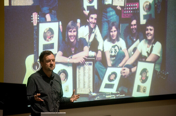 Carl Magnus Palm talks about the history of Swedish pop music in the United States during a lecture at Missouri Southern on Thursday.<br /> Globe | Roger Nomer