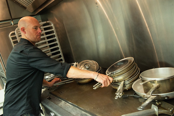 David Parker, executive chef, works in the Cafe on the Route kitchen on Tuesday in Baxter Springs.<br /> Globe | Roger Nomer