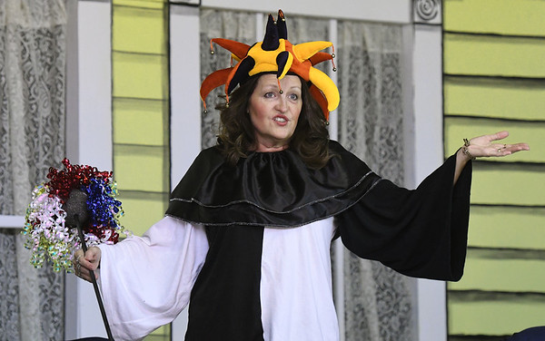 "Marla Fae Mosby (played by Shannon Wendt) returns from a Renaissance Festival as a grumpy jester during rehearsal for the upcoming Stone's Throw Dinner Theatre production of ""The Savannah Sipping Society,"" which opens Friday at the Stone's Throw Dinner Theatre.<br /> Globe 