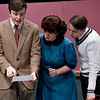 "From the left: Joplin High School students  Jakob Butler, Abby Brower and Matthew Parrott rehearse their roles on Tuesday night for the Upcoming JHS production of ""The Game's Afoot.""<br /> Globe 