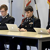 From the left: Joplin High School JROTC cadets David Ward, John Pogue and Gavin Malone listen to a cadet's answers to questions relating to the military and U.S. history during a promotion board on Thursday at JHS. The JHS JROTC will be celebrating its 100th Anniversary this spring.<br /> Globe | Laurie Sisk