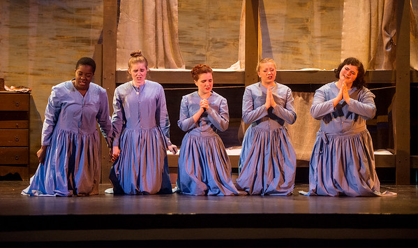 (from left) Barbie Odhomi, a fourth-year student from Nigeria, Catherine Nolan, a junior from Vonore, Tenn., Mason Keefe, a fourth-year student from Burbank, Calif., Maya Struhar, a sophomore from Creston, Iowa, and Emily Turner, a first-year student from Olathe, Kan., rehearse a scene from Belfast Girls at the Haidee and Allen Wild Center for the Arts at Cottey College on Monday.<br /> Globe | Roger Nomer