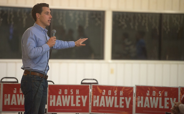 Senate candidate Josh Hawley gives a speech on Monday at the VFW Post 534.<br /> Globe | Roger Nomer