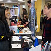 Carina Calderon, Missouri Southern junior, talks with Tricia Alberts, executive director of Sports Crusaders, during Thursday's Internship Expo at Missouri Southern. The event to connect students with internship opportunities was hosted by the Office of Career Services.<br /> Globe | Roger Nomer