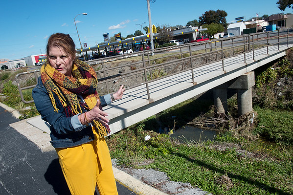Christine Pennington, property manager of Creekside Plaza, talks about planned changes to the waterway at the plaza on Tuesday.<br /> Globe | Roger Nomer
