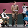 "From the left: Joplin High School students Maggie Thompson, Del Stanley, Jakob Butler, Matthew Parrott and Abby Brower rehearse their roles on Tuesday night for the Upcoming JHS production of ""The Game's Afoot.""<br /> Globe 