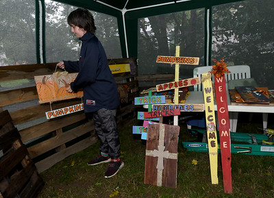 Nicholas Ottendorf, 12, helps organize crafts made by Jennie Craven at their booth at the North Heights Neighborhood's Porch Fest on Saturday on North Byers Avenue. Globe | Laurie Sisk