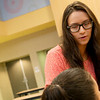 Jazmine Rodriguez, a Missouri Southern senior from Purdy, talks with a student at Soaring Heights Elementary on Monday.<br /> Globe | Roger Nomer