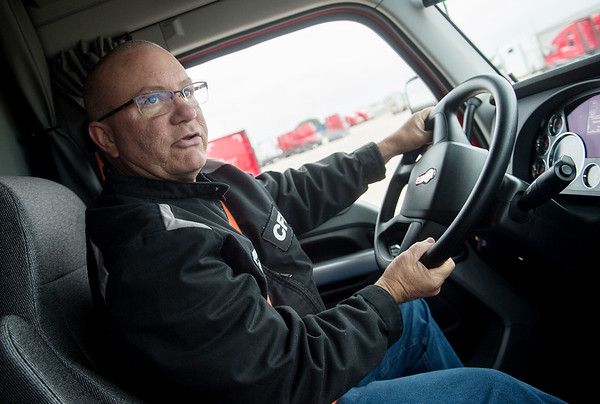 Greg Klang talks about his driving career with CFI during an interview on Monday.<br /> Globe   Roger Nomer