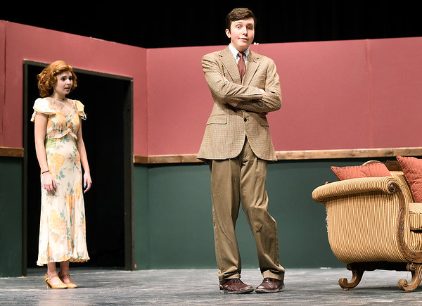 """From the left: Joplin High School students Maggie Thompson and Jakob Butler rehearse their roles on Tuesday night for the Upcoming JHS production of """"The Game's Afoot.""""<br /> Globe 