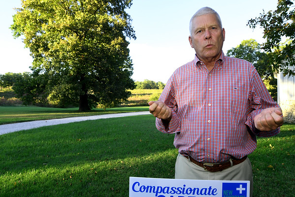 Retired cardiologist Paul Callicoat talks about the difference between opiods and marijuana for the treatment of pain on Wednesday at his Seneca home. Callicoat has been active in endorsing Proposition 2 for the legalization of medical marijuana.<br /> Globe | Laurie Sisk