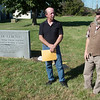 Clyde Hood, committee member of the Jasper County Cemetery Preservation Committee, left, and Paul Lewis, chairman of the Committee, talk about the history of Pioneer Cemetery on Thursday in Carthage.<br /> Globe | Roger Nomer