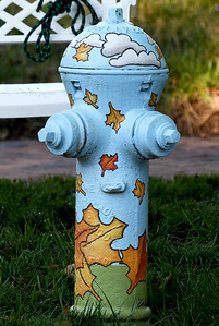 A brightly-themed hydrant near 14th and Grand adds to the festive atmosphere at the Maple Leaf Parade on Saturday in Carthage. Globe | Laurie Sisk