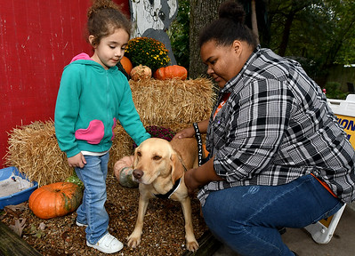 """Three-year-old Alyssa Prado and Golden Paws employee Ally Whitaker visit with """"Wilma Flintsbone"""" during the Golden Paw Animal Rescue and Sanctuary's Open House on Saturday at the shelter. Wilma is one of many dogs ready for adoption at the shelter. The day also included a 20th Anniversary celebration for the shelter on Saturday night at the VFW Post 534. Globe 
