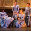 (from left) Emily Turner, a first-year student from Olathe, Kan., Maya Struhar, a sophomore from Creston, Iowa, Catherine Nolan, a junior from Vonore, Tenn., and Mason Keefe, a fourth-year student from Burbank, Calif., rehearse a scene from Belfast Girls at the Haidee and Allen Wild Center for the Arts at Cottey College on Monday.<br /> Globe | Roger Nomer