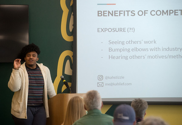 Kahlief Steele gives a talk during Wednesday's Nanette Philibert Business of Art Symposium at Missouri Southern State University.<br /> Globe | Roger Nomer
