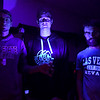 From the left: Pittsburg State biology students Jake Wright, Ryan McGinty and graduate student Michael Barnes stand near a black light used to detect white nose syndrome in bats.<br /> Globe | Laurie SIsk