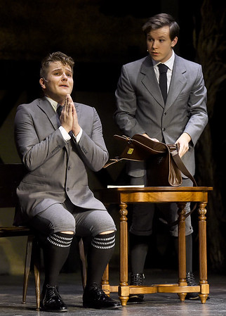 "From the left: Tanner Munson (as Moritz Stiefel) and Corbin Chaffin (as Melchior Gabor) rehearse their roles for the Dream Theatre Company production of ""Spring Awakening"" on Wednesday night at the Joplin Little Theatre.<br /> Globe 