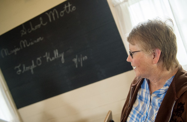Carol Gaines talks about the history of the Shiloh Schoolhouse in Liberal on Wednesday.<br /> Globe | Roger Nomer